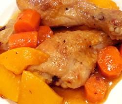 pollo-con-melocoton-en-almibar